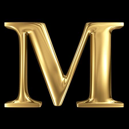 Golden shining metallic 3D symbol capital letter M - uppercase isolated on black Standard-Bild