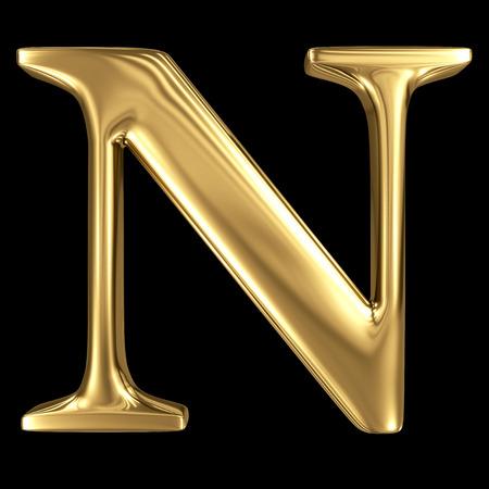 Or brillant 3D métallique symbole majuscule N - majuscule isolé sur noir Banque d'images