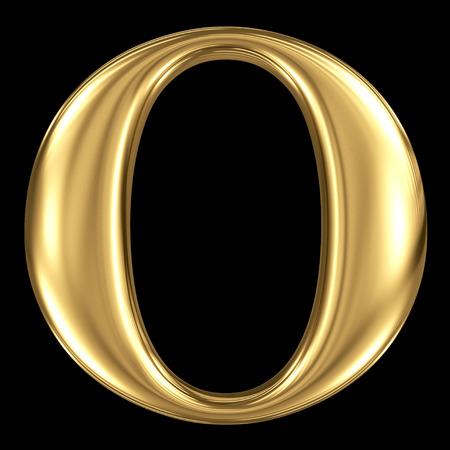 De gouden glanzende metallic 3D-symbool hoofdletter O - hoofdletters geïsoleerd op zwart