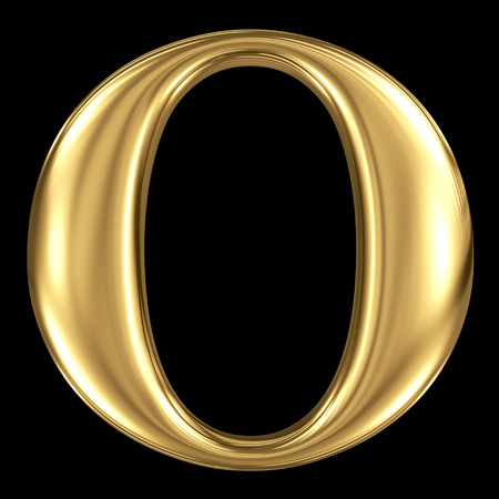 Golden shining metallic 3D symbol capital letter O - uppercase isolated on black