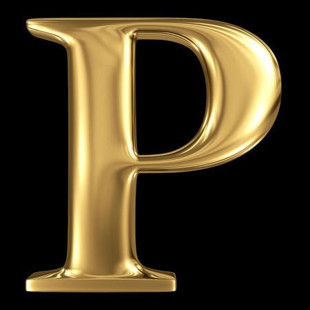 De gouden glanzende metallic 3D-symbool hoofdletter P - hoofdletters geïsoleerd op zwart Stockfoto