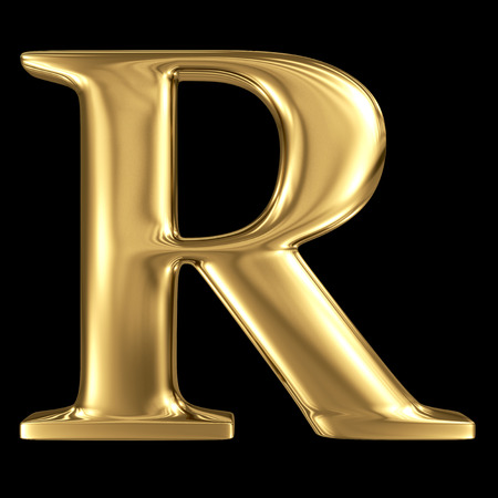 Golden shining metallic 3D symbol capital letter R - uppercase isolated on black