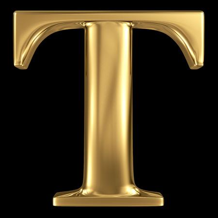 黄金に輝く金属 3 D シンボルの大文字 T - 大文字ブラックに分離 写真素材