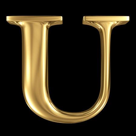 Golden glanzende metallic 3D symbool hoofdletter U - hoofdletters geïsoleerd op zwart