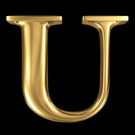 Golden shining metallic 3D symbol capital letter U - uppercase isolated on black