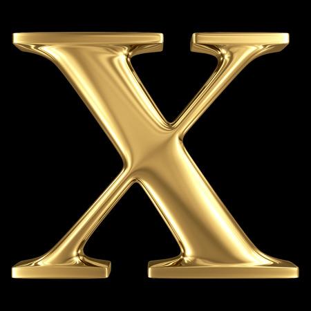 Golden shining metallic 3D symbol capital letter X - uppercase isolated on black