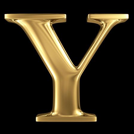 letras de oro: Oro brillante letra mayúscula símbolo 3D metálico Y - mayúsculas aislados en negro Foto de archivo