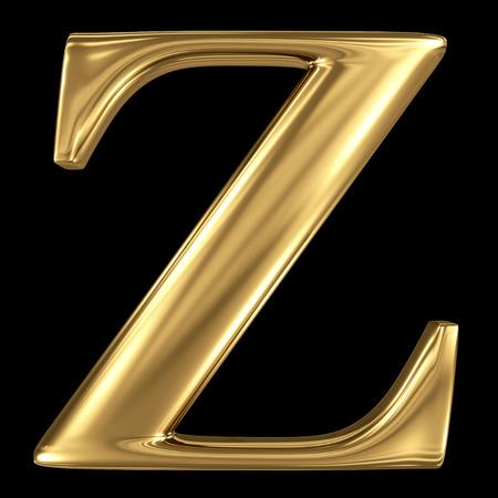 letter z: Golden shining metallic 3D symbol capital letter Z - uppercase isolated on black