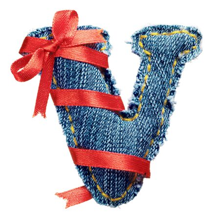 torn jeans: Magic holiday jeans alphabet letter V with red ribbon