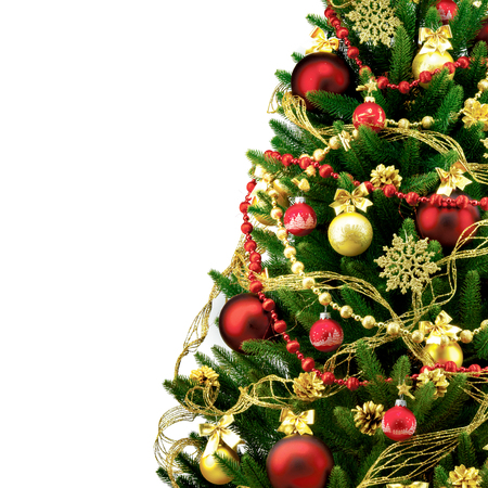 christmas bauble: Decorated Christmas tree on white background. Stock Photo