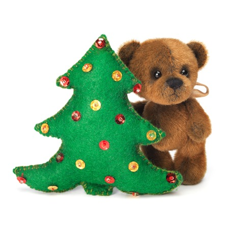 stuffed toy: Christmas tree decoration with cute classic teddy bear. Fully handmade.