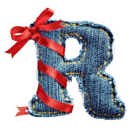 torn jeans: Magic holiday jeans alphabet letter R with red ribbon