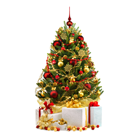 the celebration of christmas: Decorated Christmas tree on white background. Stock Photo