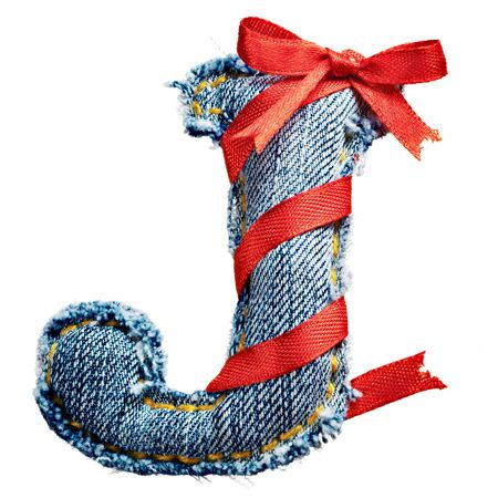 torn jeans: Magic holiday jeans alphabet letter J with red ribbon