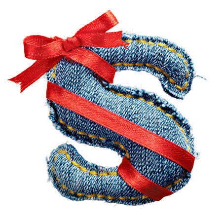 torn jeans: Magic holiday jeans alphabet letter S with red ribbon