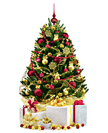 흰색 배경에 장식 된 크리스마스 트리입니다. 스톡 콘텐츠