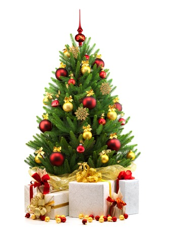 abeto: Árbol de Navidad decorado sobre fondo blanco.