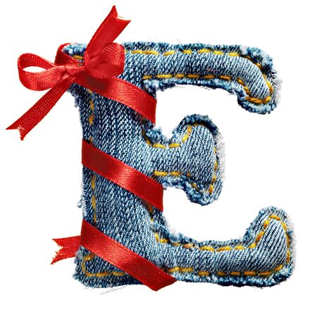 torn jeans: Magic holiday jeans alphabet letter E with red ribbon