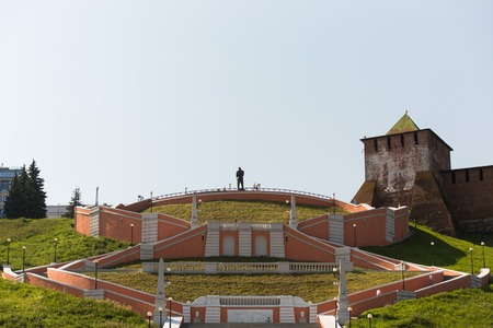 Nizhny Novgorod city, Russia. A panoramic view of the Chkalov Staircase on the background of the Novgorod Kremlin. Stock Photo