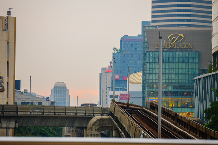 Ratchathewi bts sky train station,Bangkok,Thailand 30 Sep 2017:Sky train railway in Bangkok Editorial