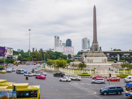 Victory monument,Bangkok,Thailand 08 Nov 2017 : Traffic at victory monument. Victory monument build to commemorate the military and victory in Franco - Thai war (1940-1941) Stock Photo