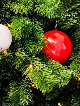 Red ball,Christmas ornament and light on Christmas tree