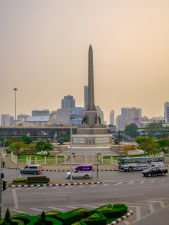 Victory monument,Bangkok Thailand 12 Mar 2018:Traffic at victory monument Victory monument is the military monument in Bangkok established in 1941 to commemorate victory in Franco - Thai war