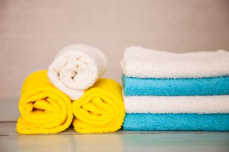 Colorful cotton towels - closeup shot