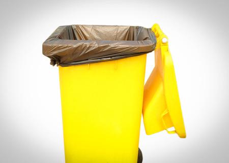 Yellow garbage trash on white background