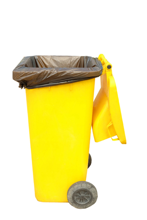 Yellow garbage trash on white background