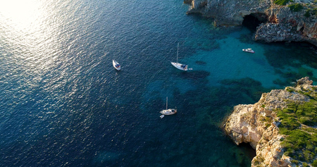 Aerial view of the boats in spain