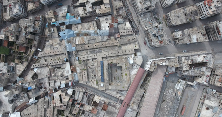 A flight of a drone over Homs in Syria 03/04/2017 - Homs - Syria