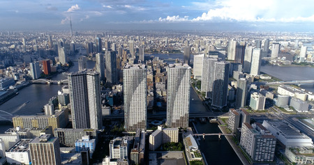 tokyo bay in aerial view