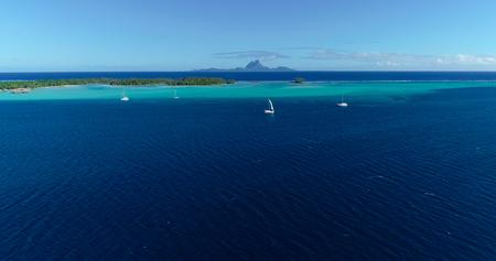 polynesia sailboat in aerial view Stock Photo