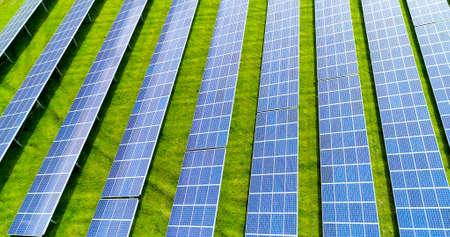 Solar panels in aerial view, renewable energy