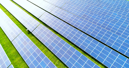Solar panels in aerial view