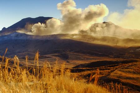 active volcano: active volcano aso mountain, kumamoto Stock Photo