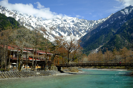 hillwalking: Kamikochi of japan alps  in early spring