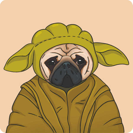 Vector illustration of a pug in the costume 向量圖像