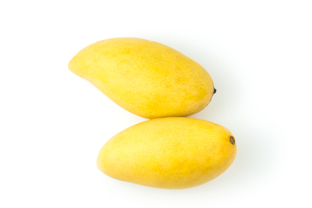 Mango ripe fresh fruit. top view Isolated on a white background and clipping path.