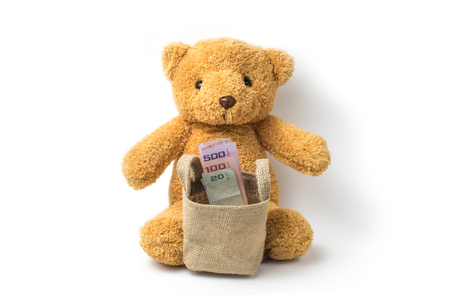 Teddy bear and thailand money baht isolate there are many varieties. The concept of saving money and the growth of the economy. on white background Stock Photo