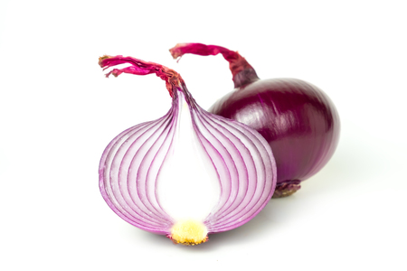 red onion cut half fresh isolated Is a plant that uses the roots or leaves and many nutrients on white background The name of science : Allium cepa