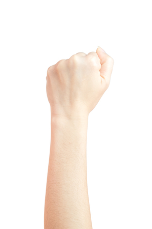 A woman's hand lifted a thumbs up symbol fist Represents the fight isolated on white background