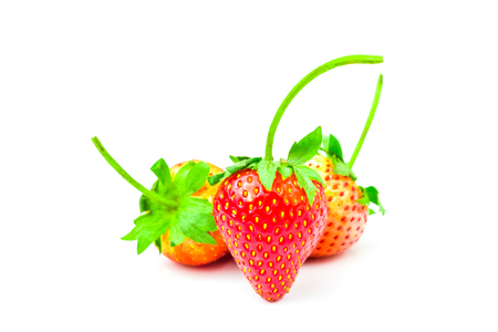 Strawberry (Fragaria x ananassa Duchesne) are fresh red fruit. rich in vitamins have a taste sour and sweet on isolated white background