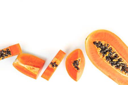 Carica papaya isolated on white background