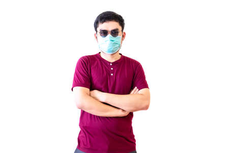 The man has wears a health mask.