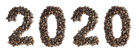 Coffee bean sort by number 2020. WFor the calendar or postcard New Year isolated on white background.