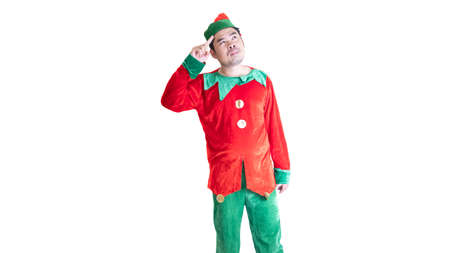 Asian men wear clown clothes. Stand by thinking On a white background and clipping path.