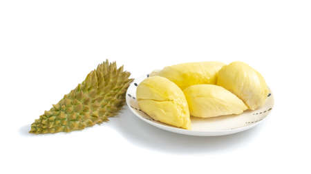durian on a plate. on white background . Durian is a Thai fruit that is delicious and has a pleasant aroma.