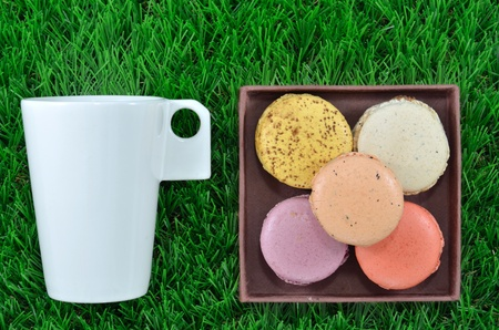 Sweet set of macaroon and tea photo